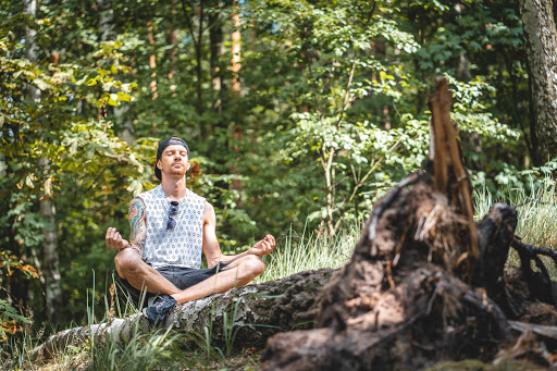 man meditating releasing stress